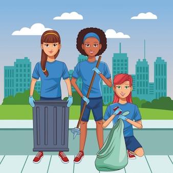清掃サービス担当者のアバターの漫画のキャラクター