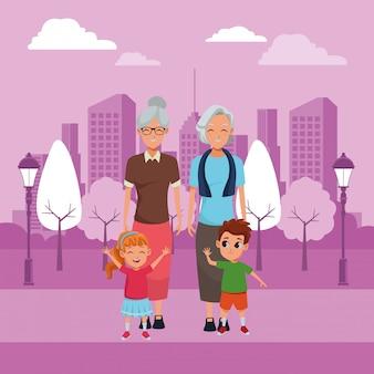 Семейные бабушки и дедушки и внуки мультики