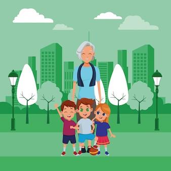 孫漫画と家族の祖母