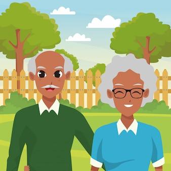 アフリカ系アメリカ人の祖父母カップル笑顔漫画