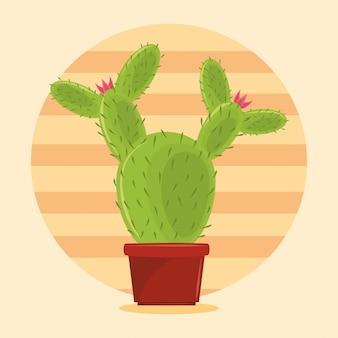 Сочный горшок с кактусом на пустынном пейзаже