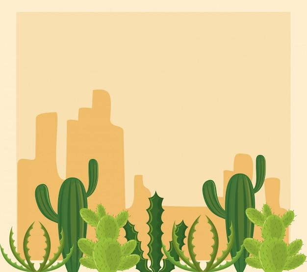 砂漠の風景の中のサボテン