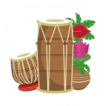 蓮の花とインドのタブラドラム