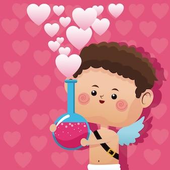 かわいい小さなキューピッドのバレンタインデーの愛のポーションピンクの心