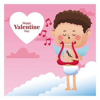 ハッピーバレンタインデーキューピッド歌う音楽ハープノート音楽