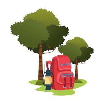 ランタン付きキャンプ用バックパック