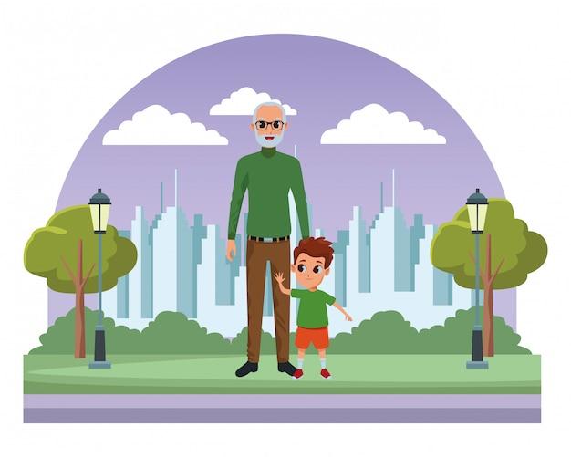 Внук и дедушка стороны