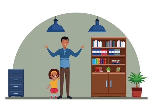 Одинокий отец с маленькой дочкой мультфильм