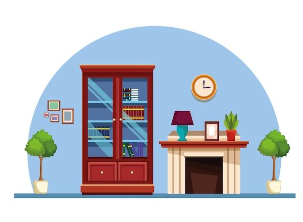 Домашняя библиотека и дымоход с лампами и лампами