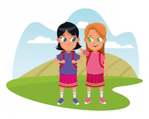 子供時代の愛らしい学生少女漫画