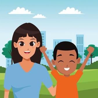 家族の親と子の漫画