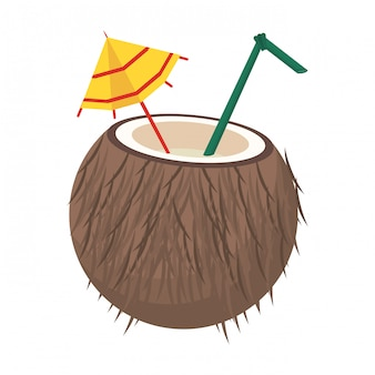 ココナッツ藁と傘の漫画とカクテル