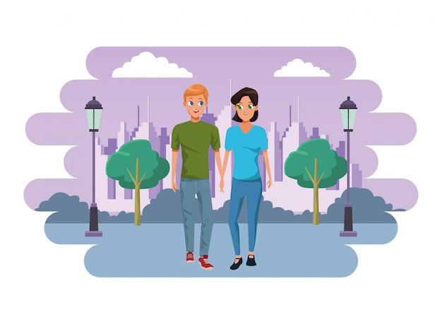 若いカップル笑顔とウォーキング漫画