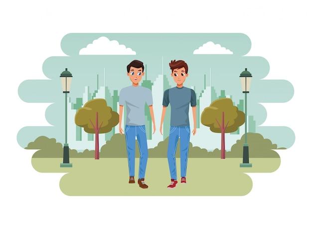 Молодая пара, улыбаясь и ходячий мультфильм