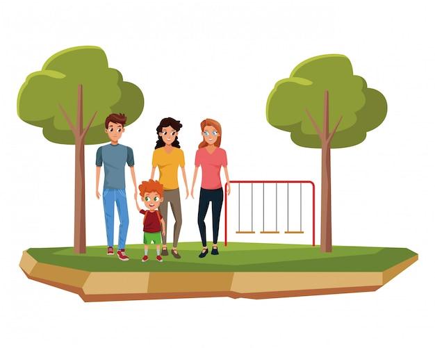 子供を持つ家族の若い親漫画