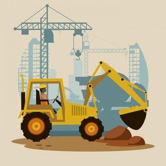 建設中ショベルマシン