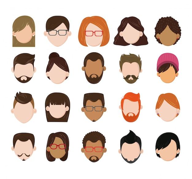 人々の顔のない文字アイコンのセット