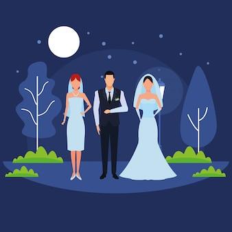 結婚式に身を包んだ人々