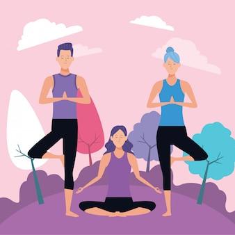 Люди позы йоги