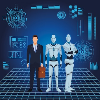 Человекоподобный робот и бизнесмен