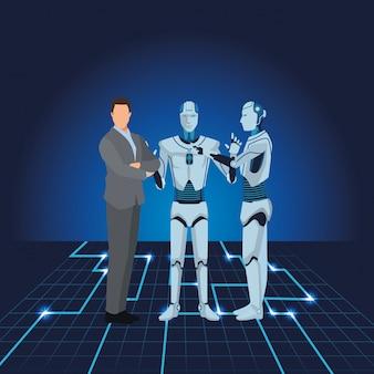 ヒューマノイドロボットと実業家