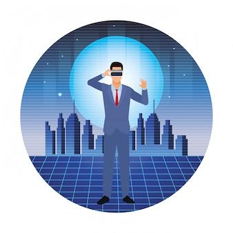 仮想現実のヘッドセットを着ているビジネスマンラウンド図