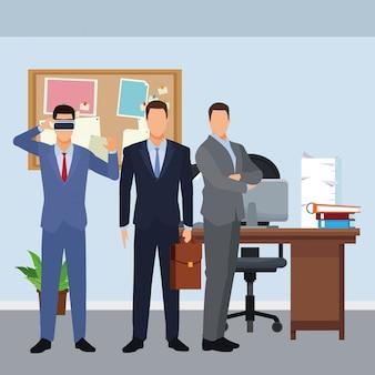 仮想現実のヘッドセットを着ているビジネスマン