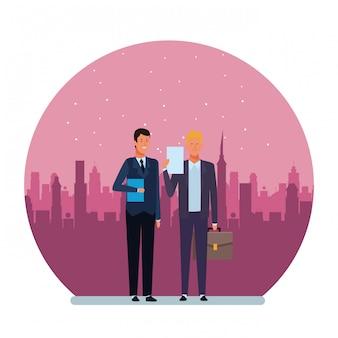 ビジネスマンのアバターの漫画のキャラクターラウンドイラスト