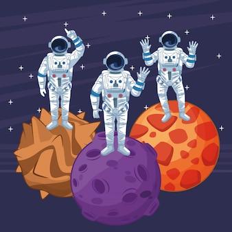 分離された宇宙探査漫画の宇宙飛行士