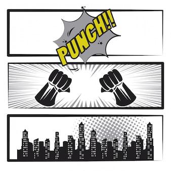 Комикс история поп-арт мультфильм в черно-белом
