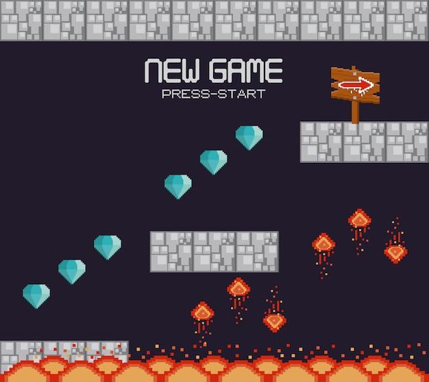 地形がピクセル化されたレトロなビデオゲームの風景