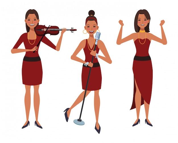 バイオリンを演奏し、歌と踊りの音楽家