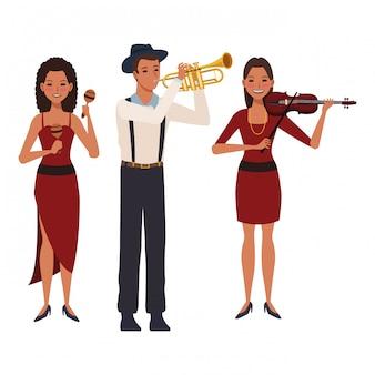 トランペットのバイオリンとマラカスを演奏するミュージシャン