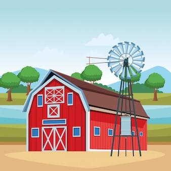 納屋と風力タービン