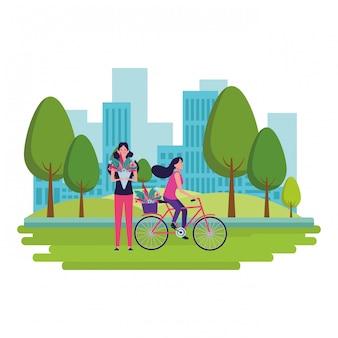 Женская езда на велосипеде с цветком