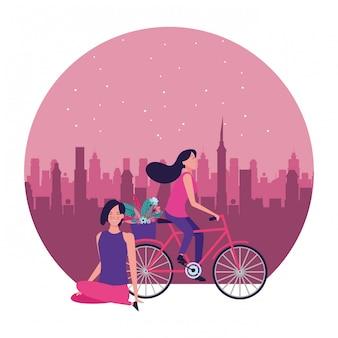 Женщины езда на велосипеде с цветком вокруг иллюстрации