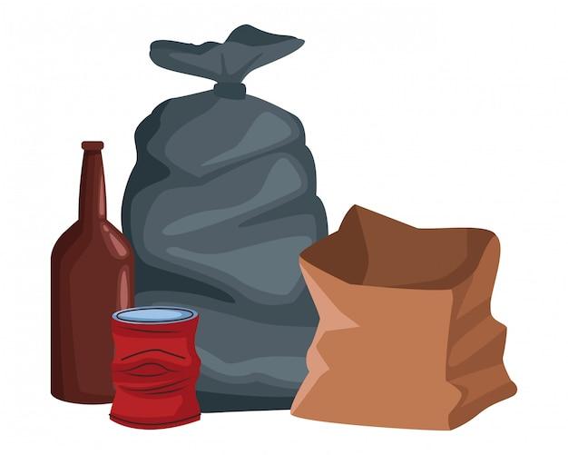 Мешок для мусора и бумажный пакет