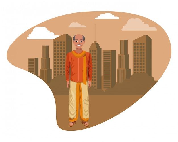 伝統的なヒンドゥー教の服を着ているインド人