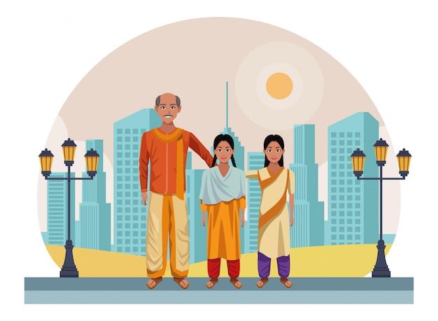 Индийский семейный аватар мультипликационный персонаж