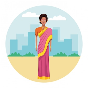 伝統的なヒンドゥー教の服を着ているインドの女性