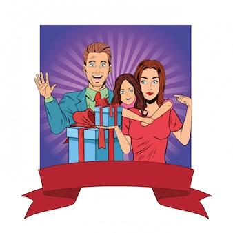 Семейный аватар с подарочной коробкой поп-арт