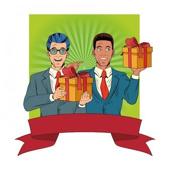 Мужской аватар с подарочной коробкой поп-арт