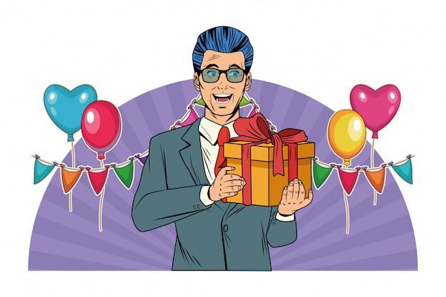 Человек аватар с подарочной коробке поп-арт