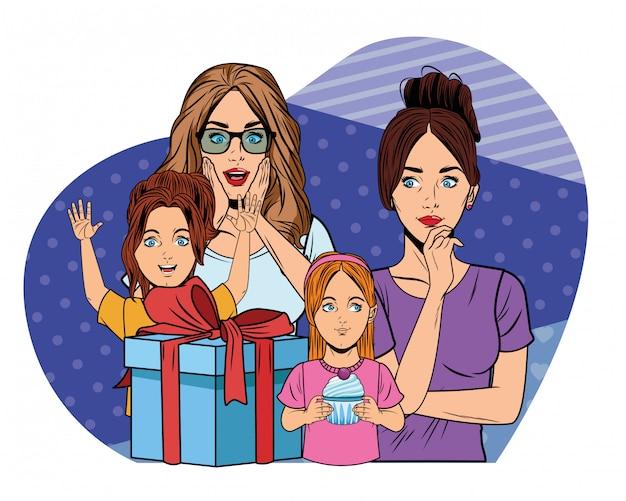 Женщины и девушки с подарочной коробкой поп-арт