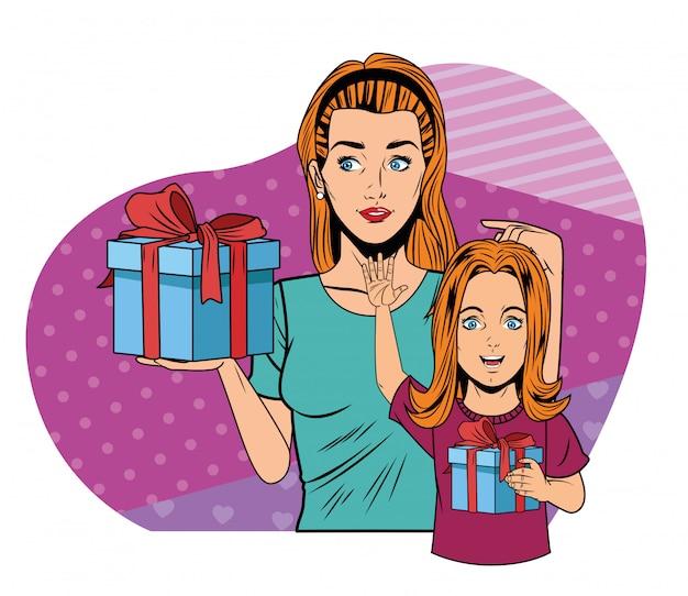 Женщины и девушка с подарочной коробкой поп-арт