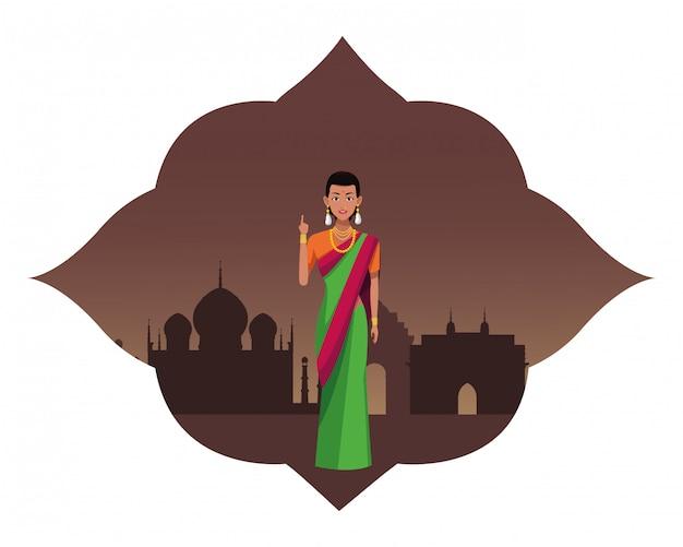 インドの女性のアバターの漫画のキャラクター