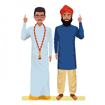 インドの男性アバターの漫画のキャラクター