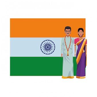 Индийская пара аватар мультипликационный персонаж