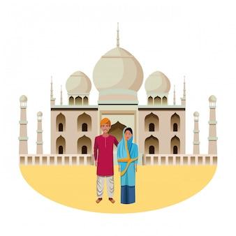インドのカップルのアバターの漫画のキャラクター