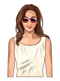 ポップアートの美しい、若い女性の漫画
